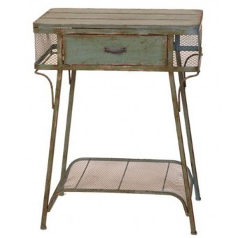 Mesa auxiliar vintage verde envejecido metal madera