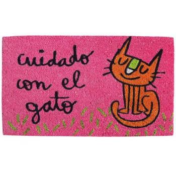 Felpudo rosa Cuidado con el gato