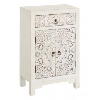 Mesa noche Bandung 2 puertas 1 cajón madera tallada blanco