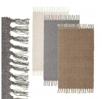Alfombra algodón pie de cama colores surtidos flecos
