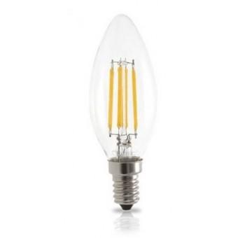 Bombilla luz cálida E14 filamento led cristal