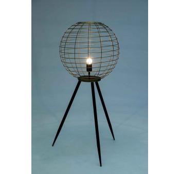 Lámpara suelo Milwaukee  trípode metal negro esfera dorada retro 50s