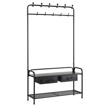 Mueble perchero entrada Baxter metal industrial negro