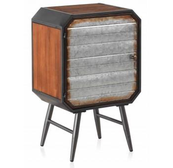 Mesa de noche Domtar 1 puerta madera y metal industrial