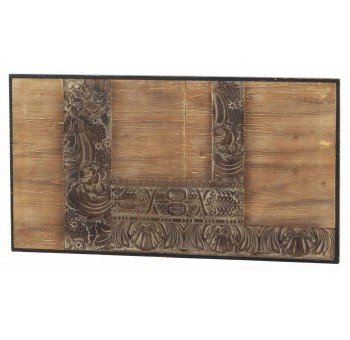Cabecero Mendix 110 madera tallada marrón y negro