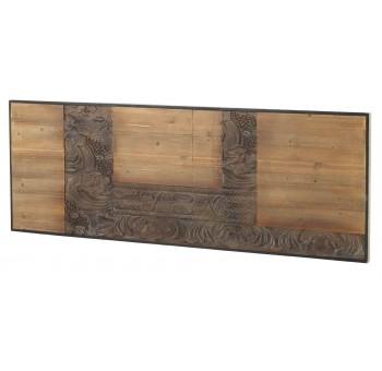 Cabecero Mendix 165 madera tallada marrón y negro