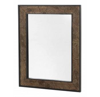 Espejo pared Mendix madera tallada marrón y negro