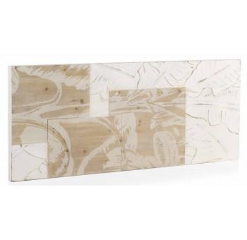 Cabecero Trianz 110 madera tallada blanco y natural