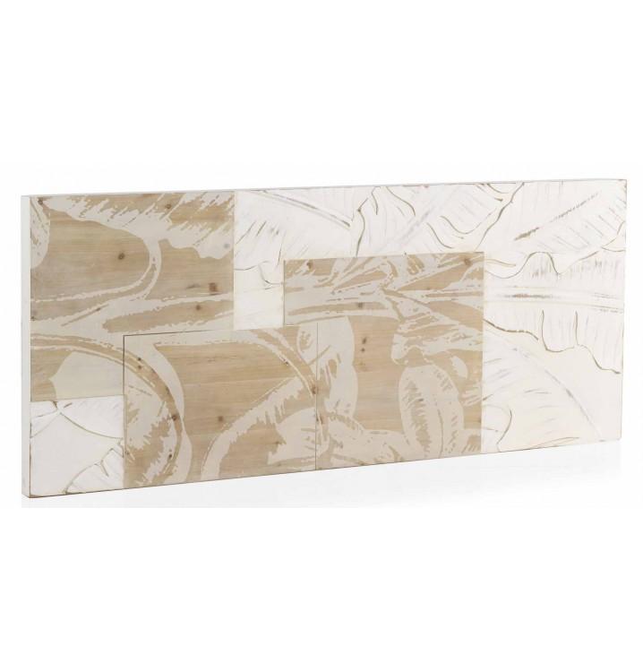 Cabecero trianz 145 madera tallada blanco y natural - Cabecero madera tallada ...