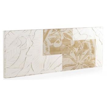 Cabecero Trianz 145 madera tallada blanco y natural