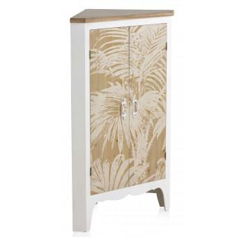 Mueble rinconera Trianz madera blanco y natural