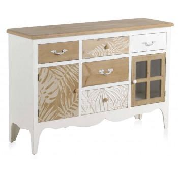 Aparador vitrina Trianz madera blanco y natural