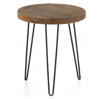 Mesa redonda auxiliar pequeña madera olmo viejo patas metálicas