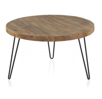 Mesa redonda centro madera olmo viejo patas metálicas