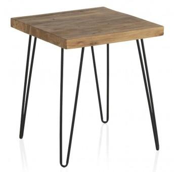 Mesa cuadrada auxiliar pequeña madera olmo viejo patas metálicas
