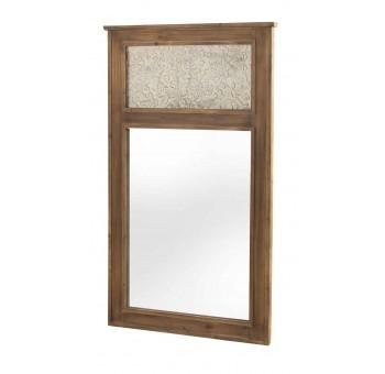 Espejo madera marrón frontal tallado beige