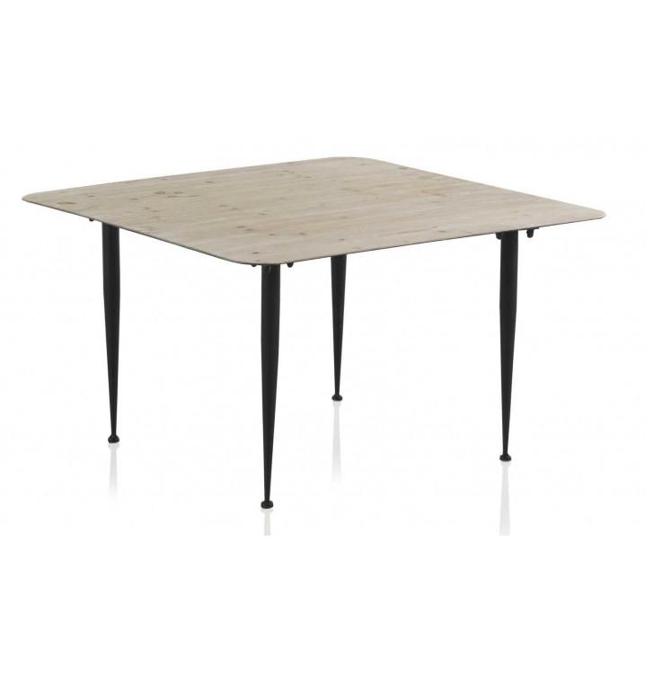 Mesa centro cuadrada unum madera y hierro - Mesa centro madera y hierro ...