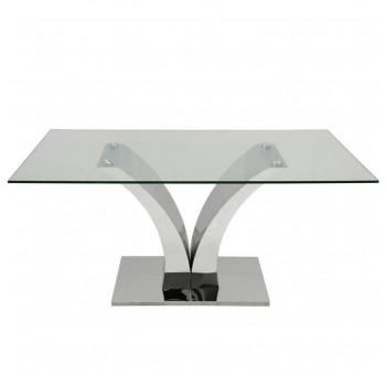 Mesa comedor Kendall metal plateado cristal templado casual