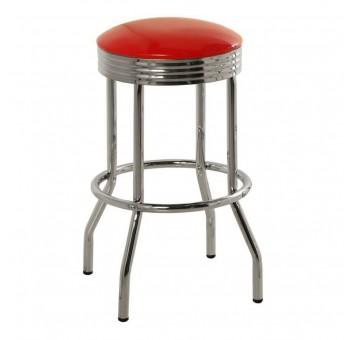 Set 2 taburetes altas bar Joseph metal cromado rojo años 50