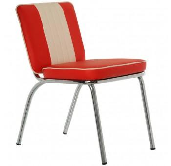 Set 4 sillas Joseph metal cromado acolchado PU rojo blanco años 50