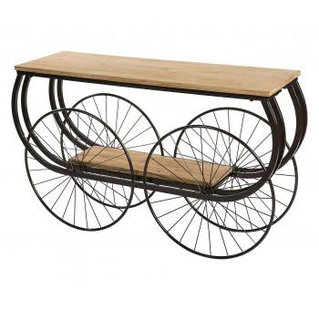 Consola madera Carruaje metal estilo industrial