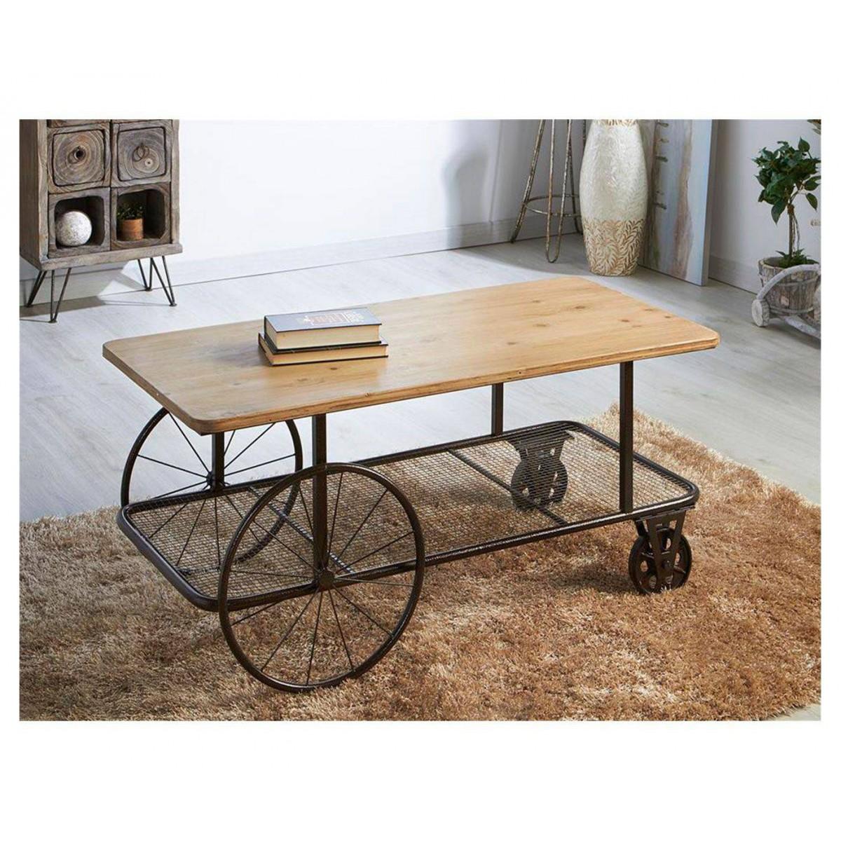 Mesa de centro madera carro metal estilo industrial for Mesa industrial de madera y metal