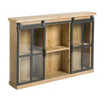 Estantería vitrina pared Medievo madera y metal estilo industrial