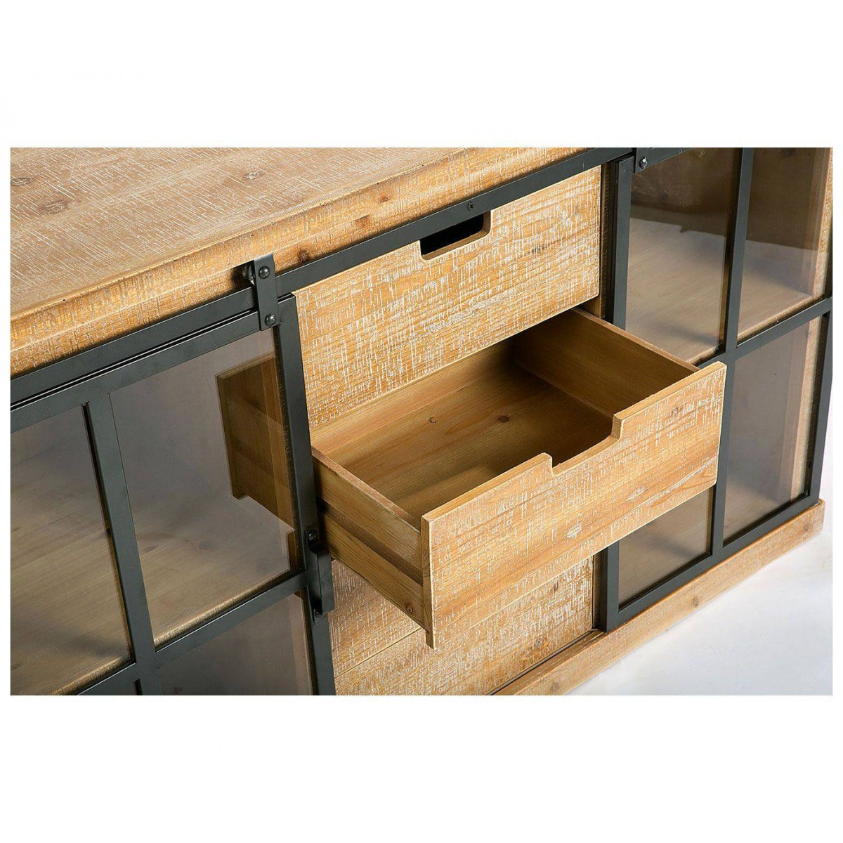 aparador buffet medievo madera y metal estilo industrial