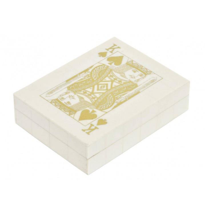 Juego 2 barajas cartas Póker en caja hueso