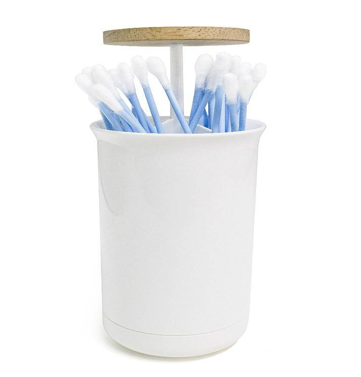 Dispensador bastoncillos baño vertical blanco