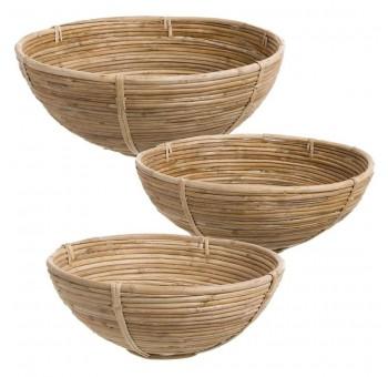 Centro frutero redondo decoración bambú natural