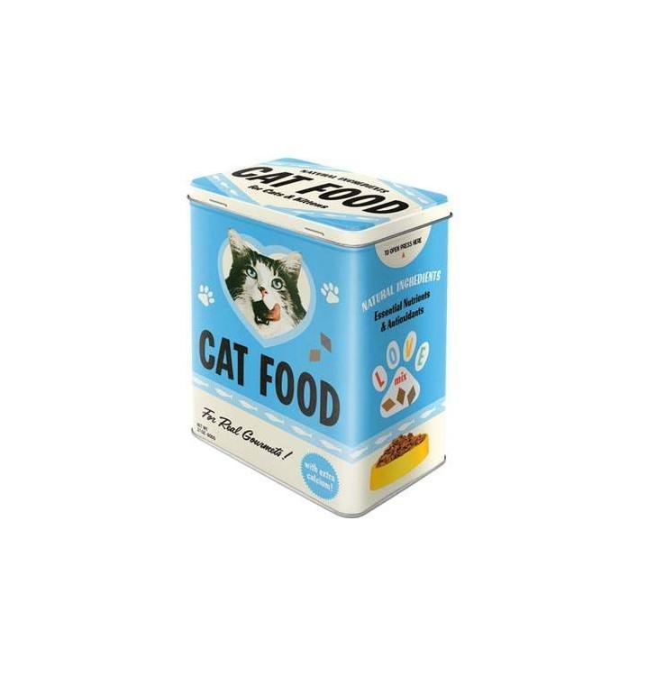 Caja bote metal Comida gato vintage