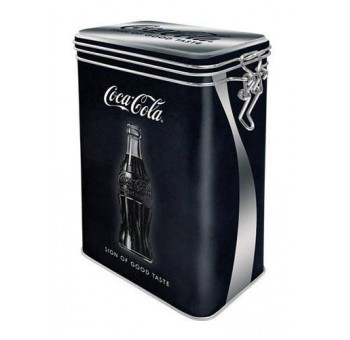 Caja metal con clip hermética Coca Cola negra