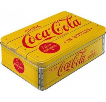 Caja metal Coca Cola amarilla retro