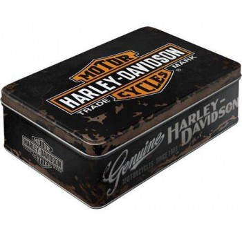 Caja metal Harley Davison logo negra