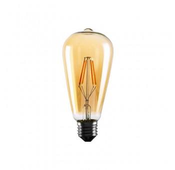 Bombilla filamento LED Edison ámbar cristal industrial