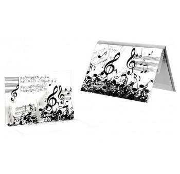 Tarjeta felicitación notas diseño claves musicales