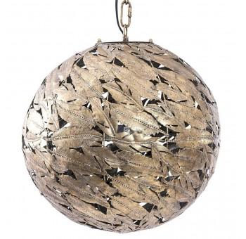 Lámpara techo Blatty esfera hojas de metal dorado Art Decó