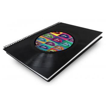 Libreta cuaderno normal Disco vinilo boca colores