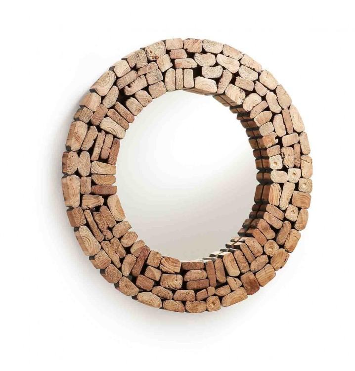 Espejo pared redondo en mosaico de madera natural - Espejo nordico ...