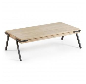 Mesa centro Ludvig madera acacia natural metal negro nórdico