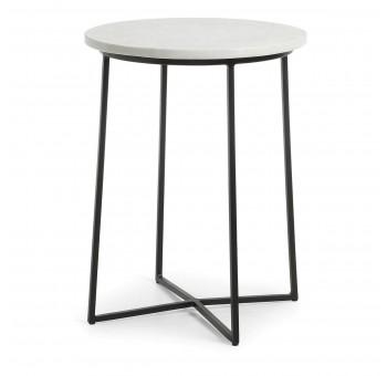 Mesa café redonda Burnette metal negro mármol blanco nórdico