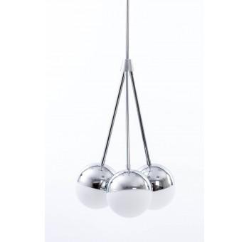 Lámpara techo LED Evelyn 3 globos metal cromado cristal blanco