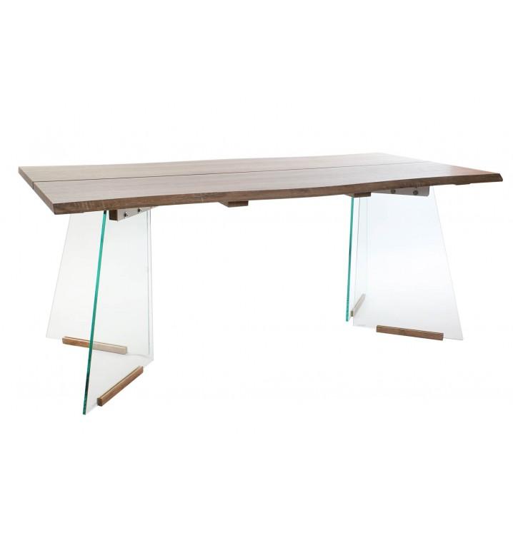 Mesa comedor Dedalo madera natural cristal estilo casual