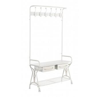 Mueble perchero entrada Baxter metal industrial blanco