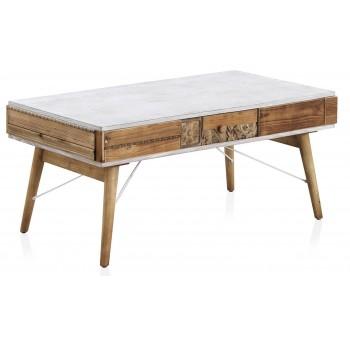 Mesa centro Devin 1 cajón madera tallada abeto