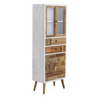 Vitrina con puerta Devin 2 cajones madera tallada abeto