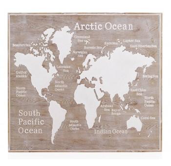 Cabecero cuadro Mapa Mundo 110x100 madera natural