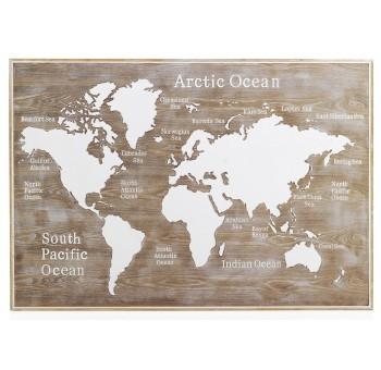 Cabecero cuadro Mapa Mundo 145x100 madera natural