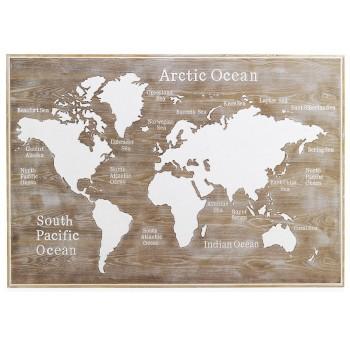Cabecero cuadro Mapa Mundo 165x100 madera natural